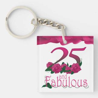25th Birthday pink flower photo floral keychain
