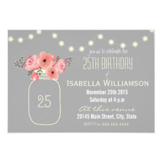 25th Birthday Pink Watercolor Flowers & Mason Jar Card
