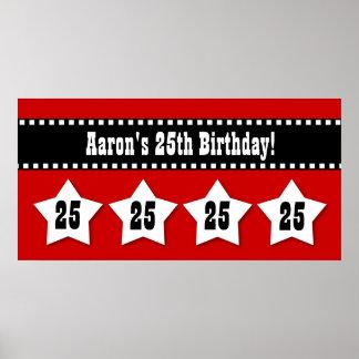 25th Birthday Red Black White Stars Banner V25S Poster