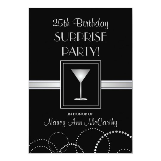 25th Birthday Surprise Party Custom Invitations