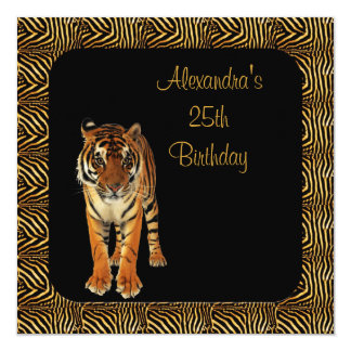 25th Birthday Tiger with Animal Print Frame 13 Cm X 13 Cm Square Invitation Card