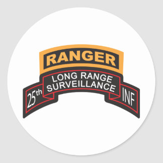 25th Infantry Division LRS Scroll, Ranger Tab Classic Round Sticker