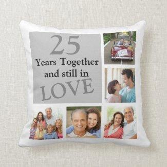 25th Multi Photo Wedding Anniversary Pillow