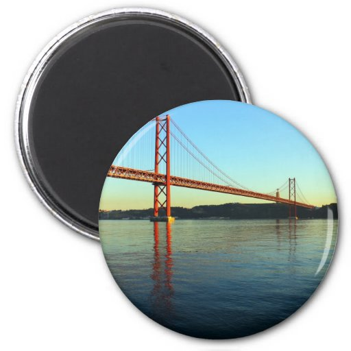 25th of April Bridge and the Tagus River, Lisbon Refrigerator Magnet