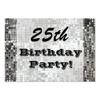 "25th Or Any Age Birthday Party Silver Invitation 3.5"" X 5"" Invitation Card"