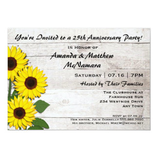 25th or Any Anniversary Party Sunflower Invitation