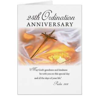 25th Ordination Anniversary, Cross Candle Greeting Card