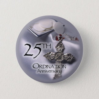 25th Ordination Anniversary Cross Host 6 Cm Round Badge