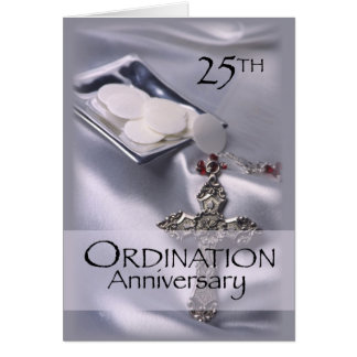 25th Ordination Anniversary Cross Host, Priest Note Card