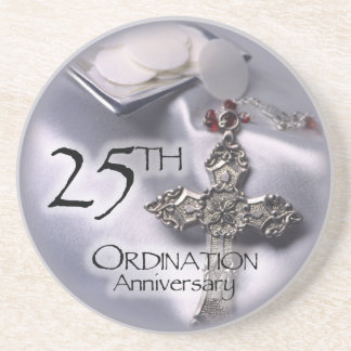 25th Ordination Anniversary Cross Host Sandstone Coaster