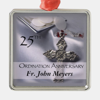 25th Ordination Anniversary Cross Host Silver-Colored Square Decoration