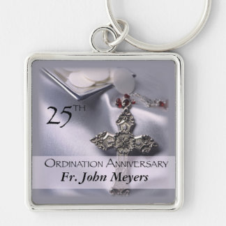 25th Ordination Anniversary Cross Host Silver-Colored Square Key Ring