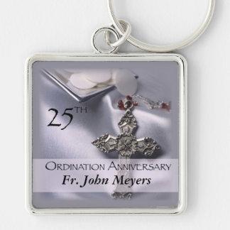 25th Ordination Anniversary Cross Host Silver-Colored Square Key Ring