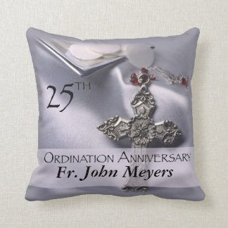 25th Ordination Anniversary Cross Host Throw Pillow