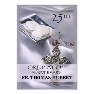 25th Ordination Anniversary Invitation Cross Host