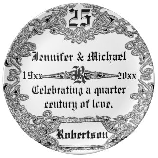 25th Sillver Wedding Anniversary Porcelain Plates