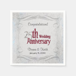 25th Silver and Burgundy Anniversary  - Customize Disposable Serviette