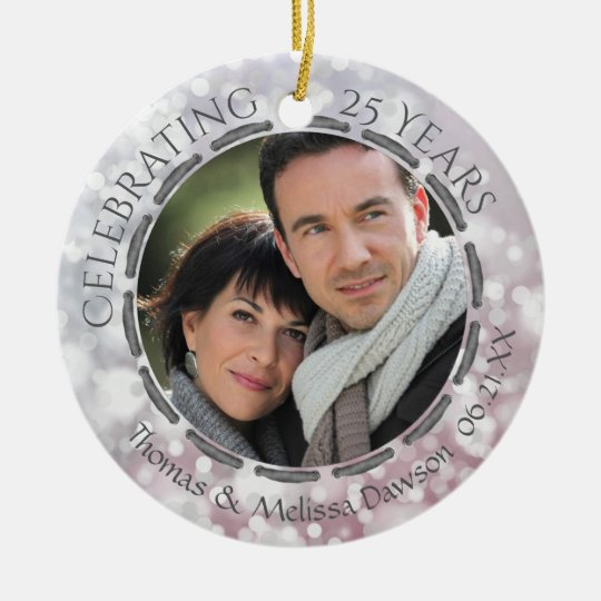 25th Silver Anniversary, 2-Sided, 2-Photo Christmas Ornament