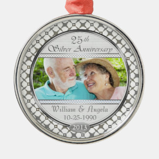 25th Silver Anniversary Custom Photo Ornament