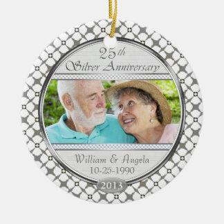 25th Silver Anniversary Custom Photo Ornament