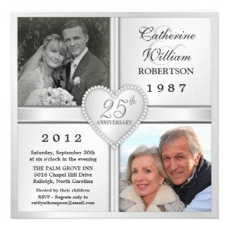 25th Silver Anniversary Heart Photo Invitations