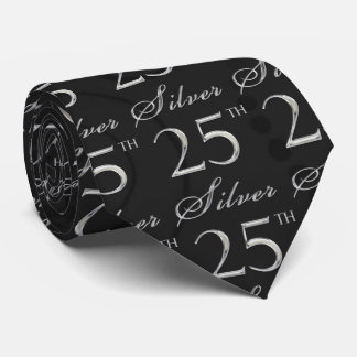 25th Silver Anniversary in Black Damask with Silve Tie