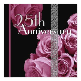 25th Silver Anniversary Invitation PINK Roses