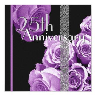 25th Silver Anniversary Invitation PURPLE Roses