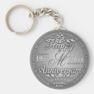 25th Silver Anniversary Monogram Key Ring