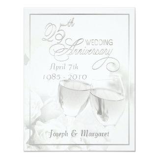 """25th Silver Anniversary Party Invitations 4.25"""" X 5.5"""" Invitation Card"""