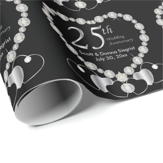 25th Silver Anniversary Personalise Wrapping Paper