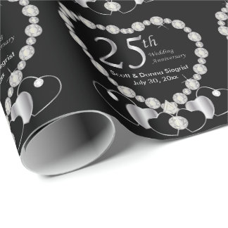 25th Silver Anniversary Personalize Wrapping Paper