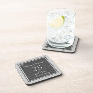 25th Silver Anniversary Personalized Coasters