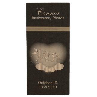 25th Silver Anniversary Photos Wood USB 2.0 Flash Drive