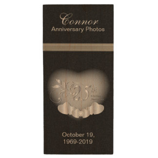 25th Silver Anniversary Photos Wood USB Flash Drive