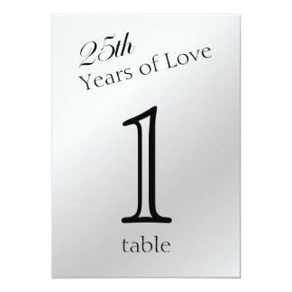 25th Silver Anniversary Table Number Card