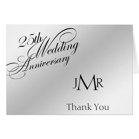 25th Silver Anniversary Thank You Card