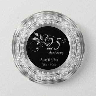 25th Silver Diamond Wedding Anniversary 7.5 Cm Round Badge