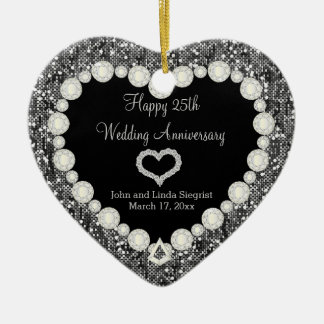 25th Silver Glitter Wedding Anniversary Ceramic Heart Decoration