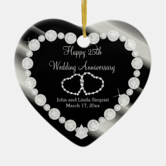 25th Silver Photo Wedding Anniversary Ceramic Heart Decoration