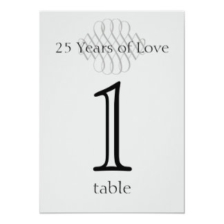 25th Silver Scroll Anniversary Table Number Card