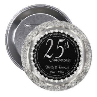 25th Silver Texture Wedding Anniversary   DIY Text 7.5 Cm Round Badge