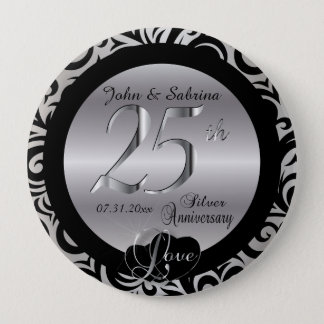 25th Silver Wedding Anniversary 10 Cm Round Badge