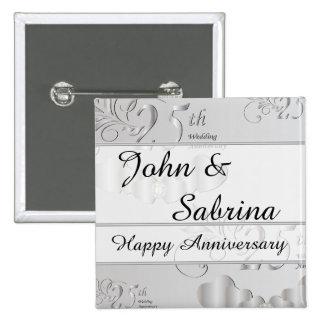 25th Silver Wedding Anniversary 15 Cm Square Badge
