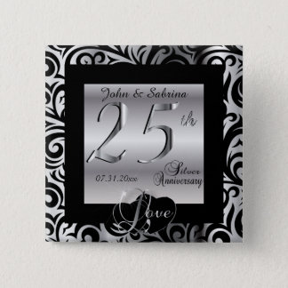 25th Silver Wedding Anniversary 15 Cm Square Badge