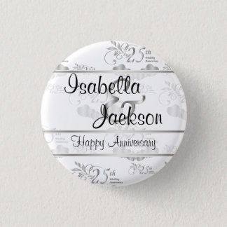 25th Silver Wedding Anniversary 3 Cm Round Badge