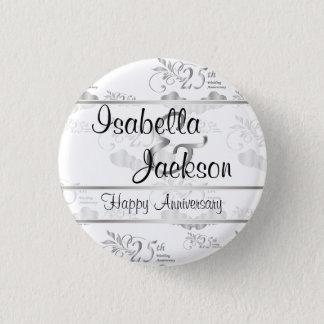 25th Silver Wedding Anniversary 3 Cm Round Badge