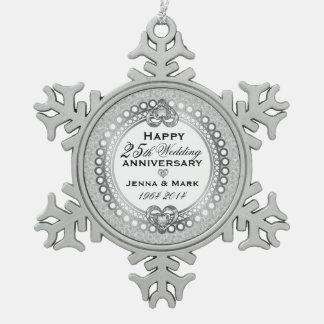 25th Silver Wedding Anniversary 4 Pewter Snowflake Decoration