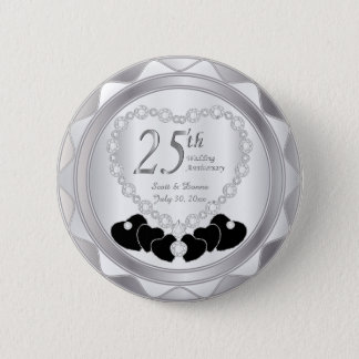 25th Silver Wedding Anniversary 6 Cm Round Badge