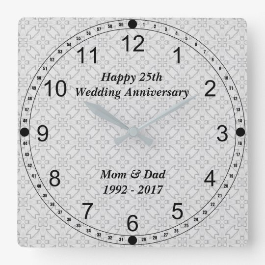25th Silver Wedding Anniversary Abstract Pattern Square Wall Clock